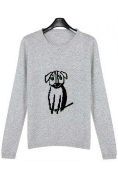 Grey Round Neck Long Sleeve Dog Print Sweater