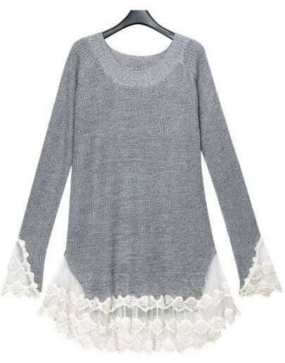 Grey Long Sleeve Contrast Lace Pullovers Sweater