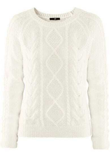 Beige Long Sleeve Geometric Pullovers Sweater