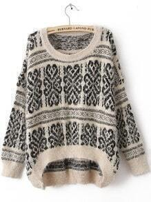 White Long Sleeve Tribal Print Mohair Sweater