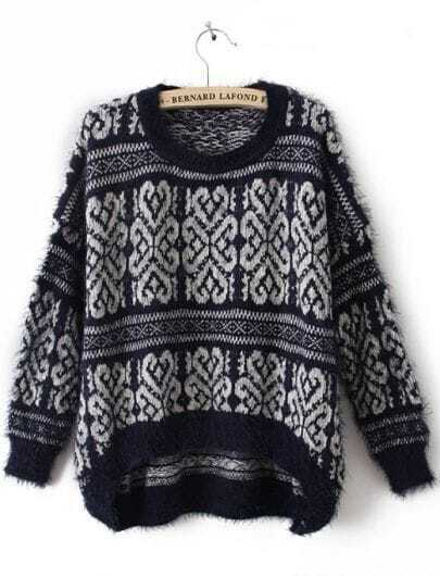 Navy Long Sleeve Tribal Print Mohair Sweater