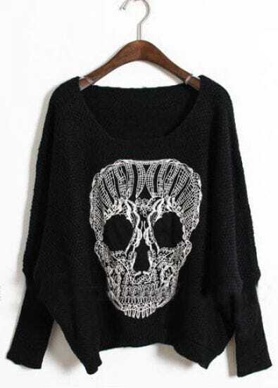 Black Batwing Long Sleeve Skull Print Sweater