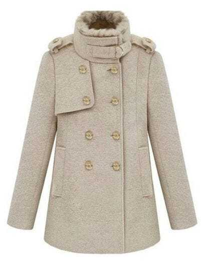 Beige Fur Collar Long Sleeve Pockets Trench Coat