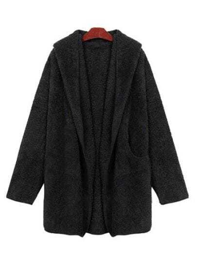 Black Long Sleeve Drawstring Loose Trench Coat