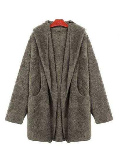 Grey Long Sleeve Drawstring Loose Trench Coat