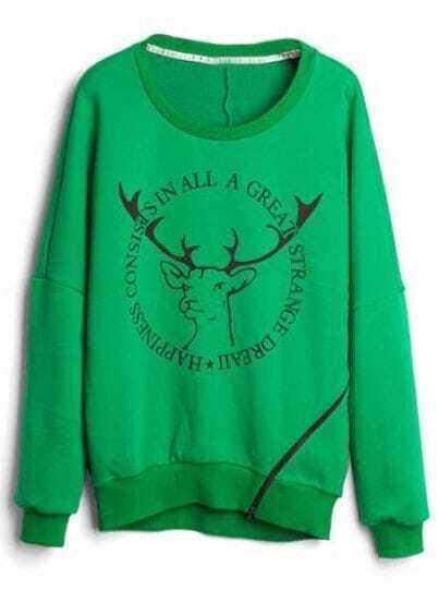 Green Long Sleeve Deer Print Loose Sweatshirt