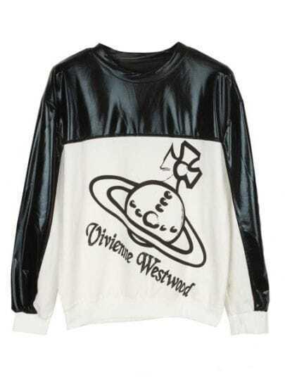 White Black Patent Leather Figure Print Sweatshirt