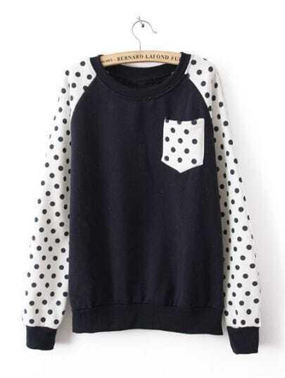 Navy Long Sleeve Polka Dot Pocket Sweatshirt