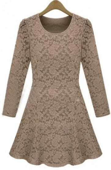 Khaki Round Neck Long Sleeve Lace Dress