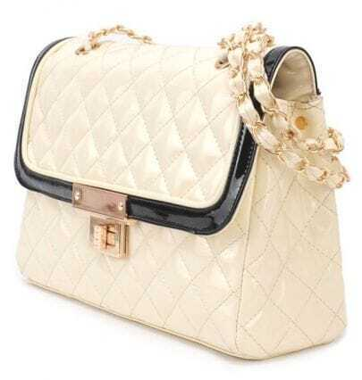 Ivory Argyle Chain Patent Leather Shoulder Bag
