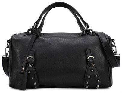Black Rivet Zipper PU Leather Shoulder Bag