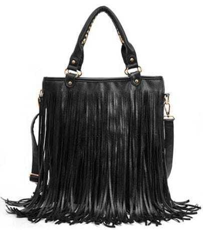 Black Tassel Zipper PU Shoulder Bag