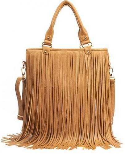 Khaki Tassel Zipper PU Shoulder Bag