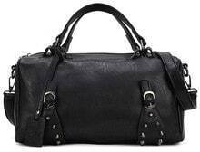 Black Rivet Zipper PU Leather Shoulder Bag