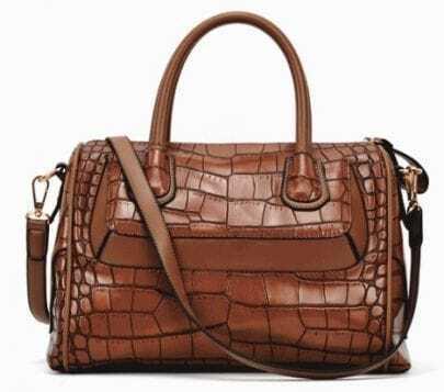 Brown Crocodile Zipper PU Leather Tote Bag