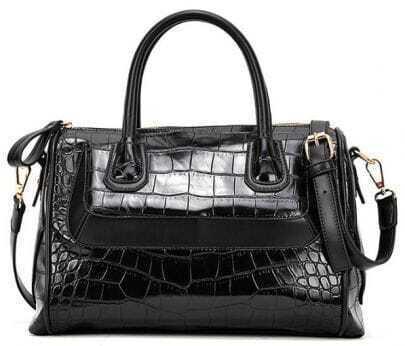 Black Crocodile Zipper PU Leather Tote Bag