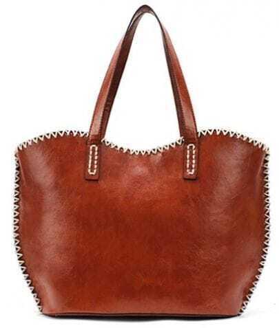 Brown Zipper PU Leather Tote Bag