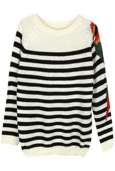 Black White Striped Long Sleeve Parrot Print Sweater