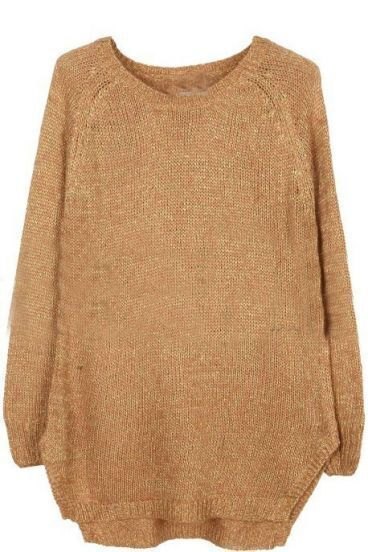Champagne Round Neck Long Sleeve Metallic Yarn Sweater