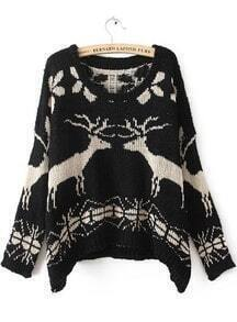 Black Batwing Long Sleeve Deer Print Sweater