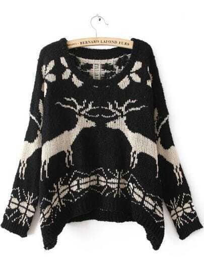 Черный длинным рукавом бата свитер печати олени