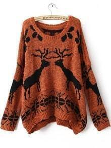 Orange Batwing Long Sleeve Deer Print Sweater