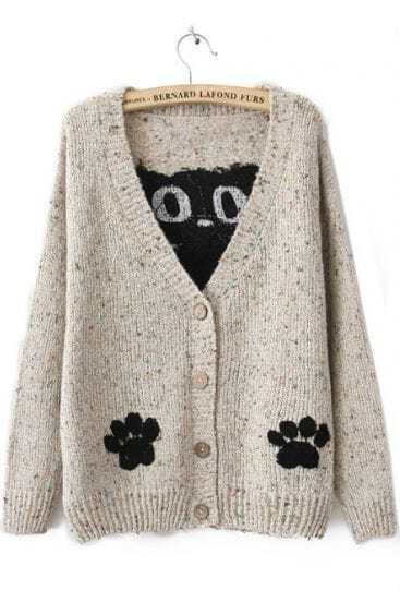 White Long Sleeve Cat Print Cardigan Sweater