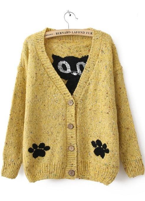 - Yellow Long Sleeve Cat Print Cardigan Sweater -SheIn(Sheinside)
