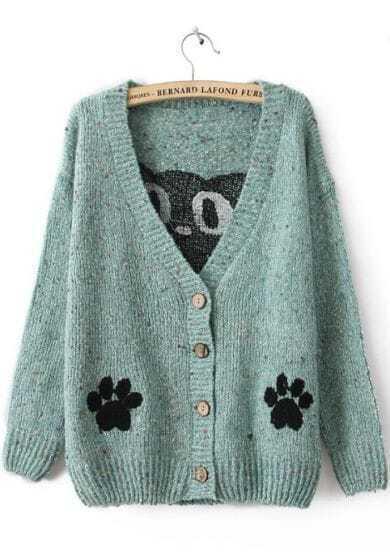 Blue Long Sleeve Cat Print Cardigan Sweater