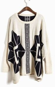 Apricot Long Sleeve Totem Print Pullovers Sweater