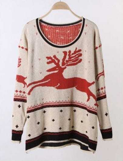 Red Long Sleeve Deer Print Pullovers Sweater
