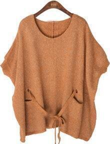 Orange Batwing Sleeve Drawstring Loose Sweater