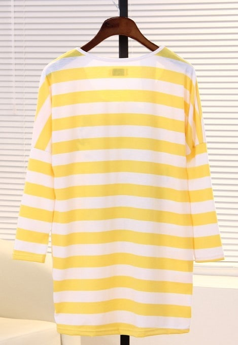 Yellow White Striped Long Sleeve Letters Print T-Shirt -SheIn ...