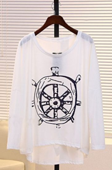 White Round Neck Long Sleeve Rudder Print T-Shirt