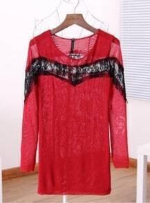 Red Long Sleeve Contrast Mesh Yoke T-Shirt
