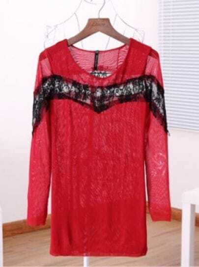 Red Long Sleeve Contrast Mesh Yoke T-Shirt