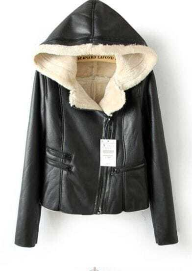Black Hooded Long Sleeve Zipper PU Leather Coat