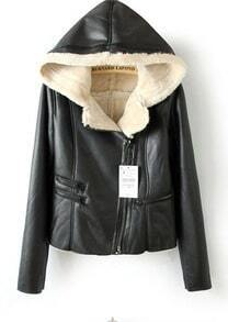 Black Hooded Long Sleeve Zipper PU Leather Coat