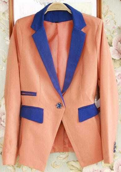 Pink Contrast Notch Lapel Long Sleeve Pockets Suit