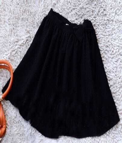Black Bowknot Embellished Skater Skirt