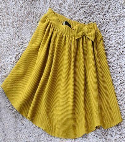 Yellow Bowknot Embellished Skater Skirt