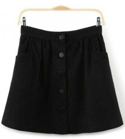 Black Button Fly Pockets Embellished Skirt