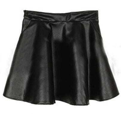 Black Pockets A Line PU Leather Skirt