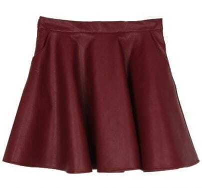 Wine Red Pockets A Line PU Leather Skirt