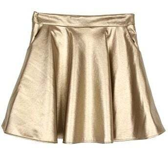 Gold Pockets A Line PU Leather Skirt -SheIn(Sheinside)