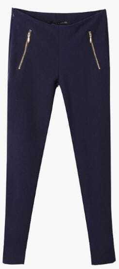 Navy Low Waist Zipper Embellished Crop Pant