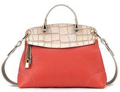 Beige Red Crocodile Zipper PU Leather Shoulder Bag