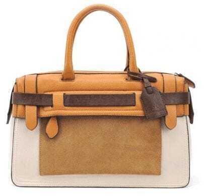 Yellow Beige Zipper Leather Tote Bag