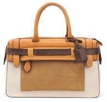 Yellow Beige Zipper Leather Tote Bag