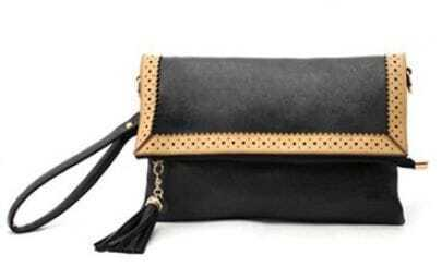 Black Hollow Tassel Zipper PU Leather Envelope Clutch
